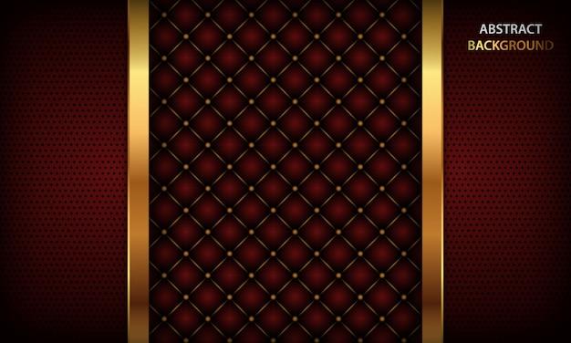 Dunkelroter hintergrund mit goldenem element und realistischem geknöpftem leder