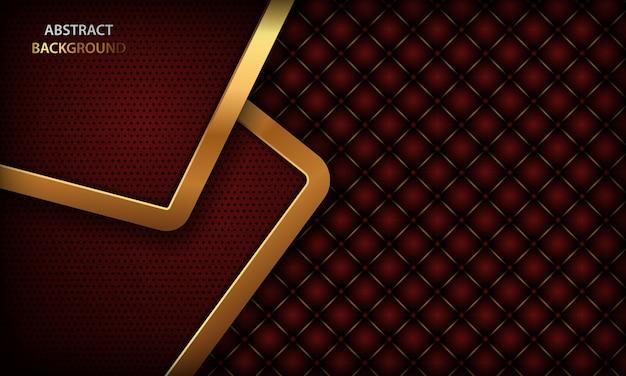 Dunkelroter hintergrund mit goldenem rahmen und realistischem geknöpftem leder.