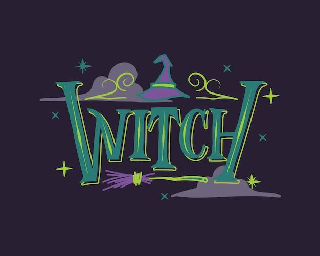 Dunkelvioletter und grüner hexen-halloween-schriftzug mit hut und broo-hintergrund