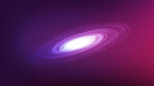 Dunkelviolettes schwarzes loch auf galaxiehintergrund