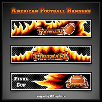 Dunkle american football banner mit flammen
