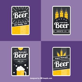Dunkle bieretiketten mit gelben details