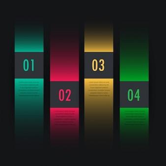 Dunkle bunte infografik vier schritten