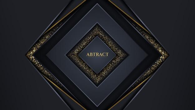 Dunkle farbe des abstrakten geometrischen luxushintergrunds und der goldlinie funkeln glitzer