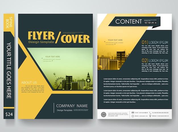 Dunkle farbe form in flyer design-vorlage