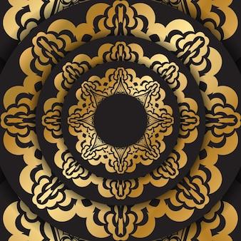 Dunkle farbkarte mit goldenem indischem muster