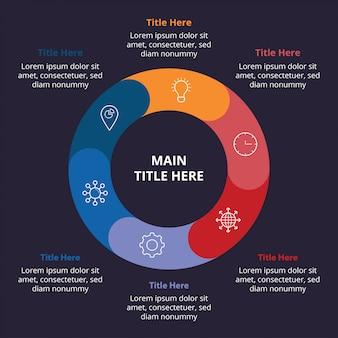 Dunkle flache infographic-schablone mit kreiszusammensetzung