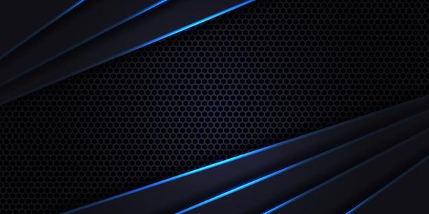 Dunkle futuristische sechseck-kohlefaser, luxuriöser moderner technologiehintergrund. dunkelvioletter hintergrund aus kohlefaser mit blauen leuchtenden linien und glanzlichtern.