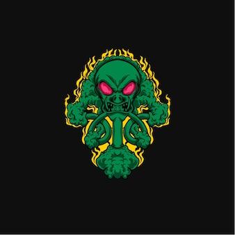 Dunkle gruselige monster-alien-illustration