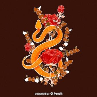 Dunkle hand gezeichnete schlange mit rosenhintergrund