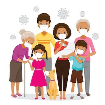 Dunkle haut familie trägt gesichtsmasken zur vorbeugung von coronavirus-erkrankungen, covid-19-viren und umweltverschmutzungen, gesundheitsschutz