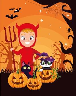 Dunkle illustration halloweens mit jungenverkleidung des teufels
