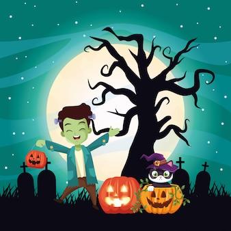 Dunkle illustration halloweens mit jungenverkleidung von frankenstein