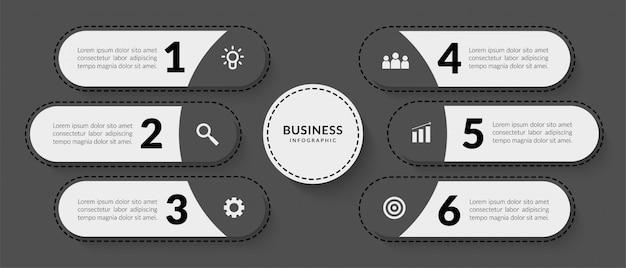 Dunkle infografik mit sechs optionalen datenkommunikationselementen für geschäftsberichte