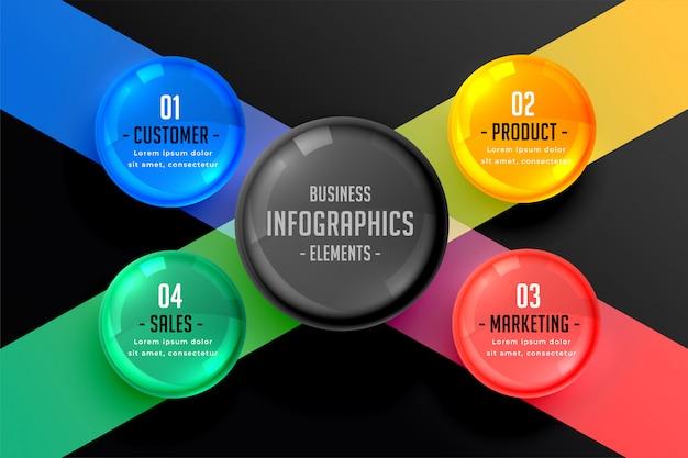 Dunkle infografik von vier schritten