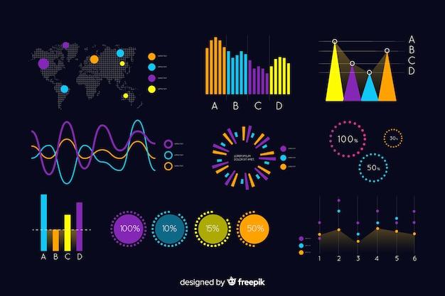 Dunkle infographic schablone mit karte