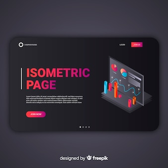 Dunkle isometrische infografik-zielseite