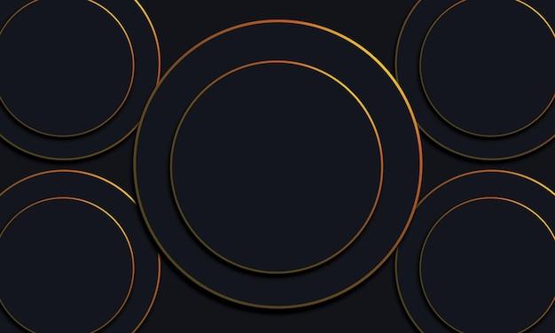 Dunkle kreise mit goldenen linien hintergrund. vektor-illustration.