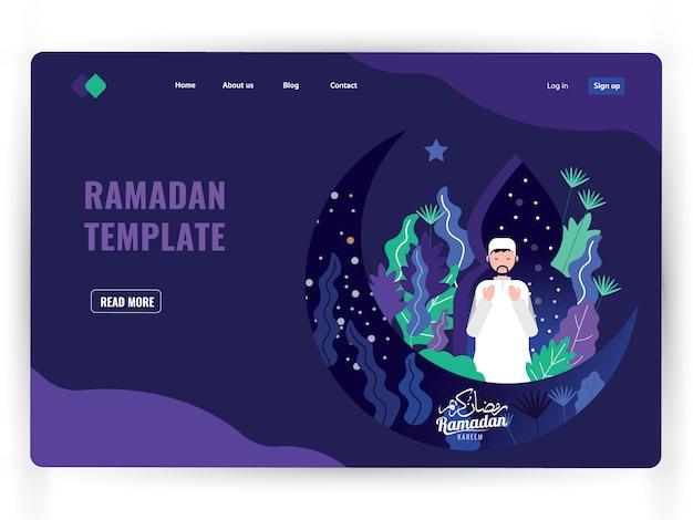 Dunkle landing-page-vorlage des heiligen gebetsmonats ramadan kareem.