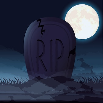Dunkle nachtszene halloweens mit kirchhoffriedhof