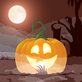 Dunkle nachtszene halloweens mit kürbis