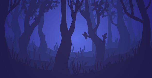 Dunkle neblige waldvektorillustration gespenstische bäume in der nacht beängstigende waldige landschaft