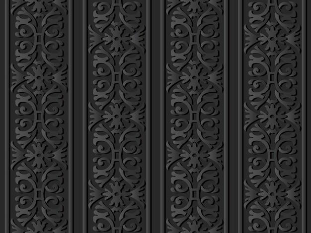 Dunkle papierkunst spiralkurve kreuz gartenrahmen blumenkette
