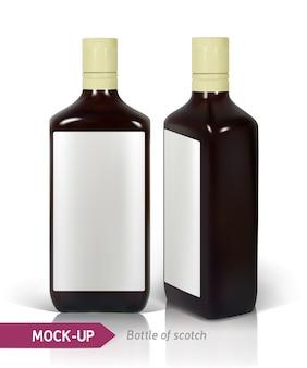 Dunkle realistische quadratische schottische flaschen lokalisiert auf weiß mit reflexion. flaschendesign mit starken getränken wie scotch, whisky, brandy usw.