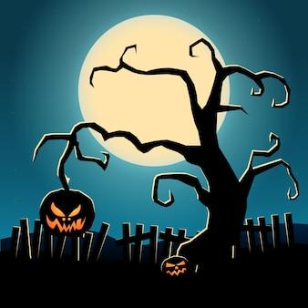Dunkle schablone des karikatur-halloween mit dem bösen kürbis und zaun des unheimlichen baumes