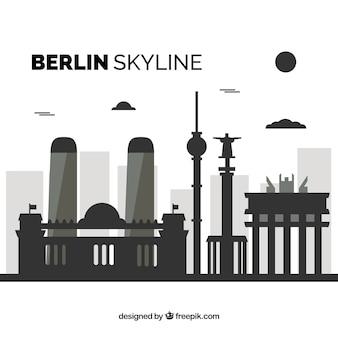Dunkle skyline von berlin
