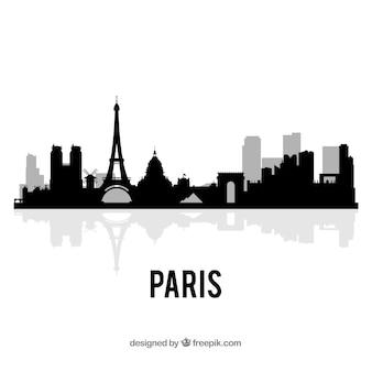 Dunkle skyline von paris