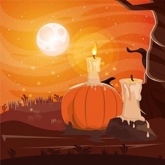 Dunkle szene halloweens mit kerze in der dunklen nacht