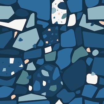Dunkle terrazzo-bodenbelag-design-nahtlose muster-flache vektor-zusammenfassungs-illustration
