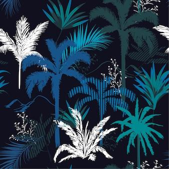 Dunkle tropische nacht blätter und tress nahtlose muster