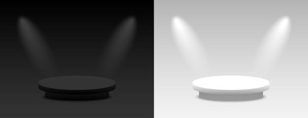 Dunkle und helle darstellung des hintergrundvektors 3d mit podium. leerer dunkler und heller plattformsockel. vektorillustration