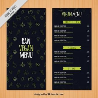 Dunkle vegan menü mit zeichnungen