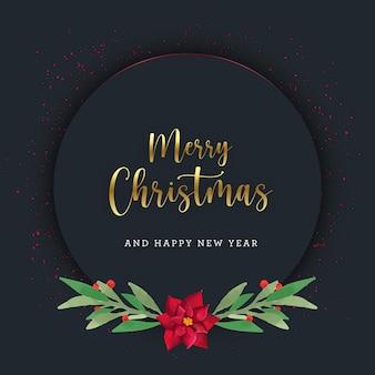 Dunkle weihnachtskarte mit aquarellblättern