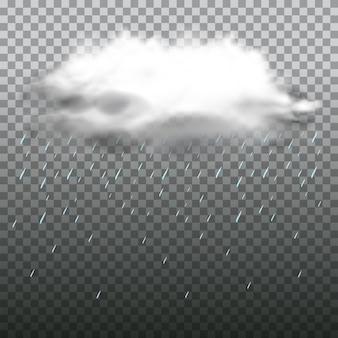 Dunkle wolke und regen auf transparentem hintergrund