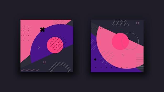Dunkler abstrakter geometrischer hintergrund. vintage-trends im memphis-design der 80er jahre. minimalistischer hintergrund.