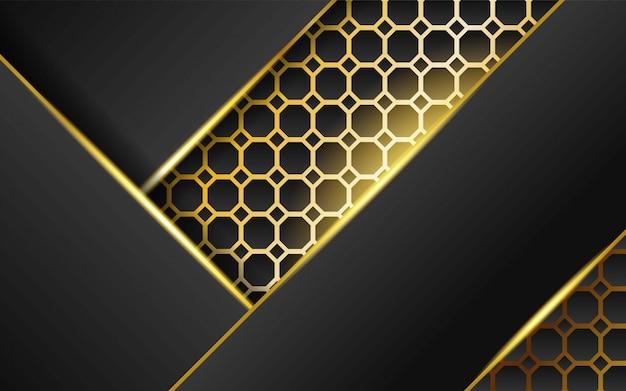 Dunkler abstrakter hintergrund der modernen technologie mit goldlinie und goldenen strahlen, überlappungsschicht im papiereffekt auf strukturierten goldhexagonhintergrund