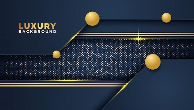 Dunkler abstrakter hintergrund mit deckungsschichten. golden glitters dots element dekoration. luxus-design-konzept.