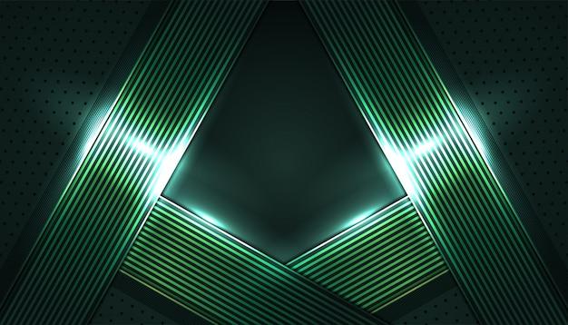 Dunkler abstrakter hintergrund mit glänzendem grün