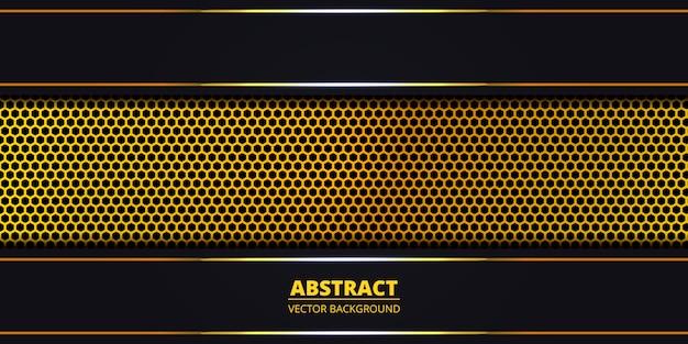 Dunkler abstrakter hintergrund mit goldener hexagonkohlenstofffaser. abstrakter hintergrund mit goldenen leuchtenden linien auf kohlenstoffgitter. luxus moderne futuristische kulisse. .