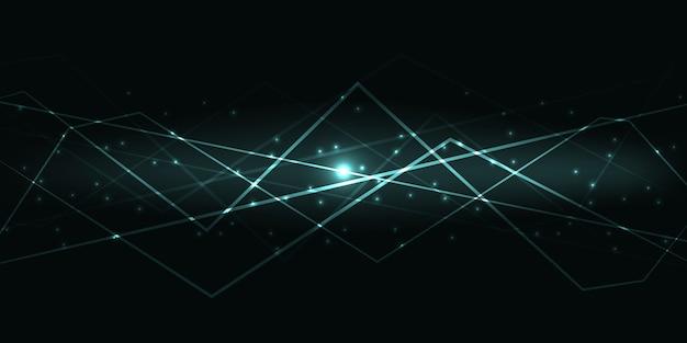 Dunkler abstrakter hintergrund mit grünen lichtdurchlässigen leuchtenden linien und höhepunkten.