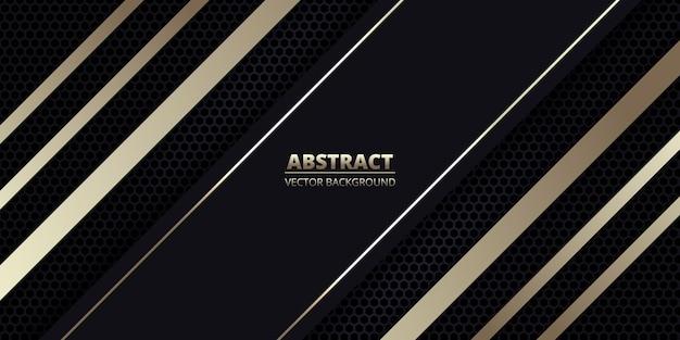 Dunkler abstrakter hintergrund mit kohlefaser und goldenen diagonalen linien.