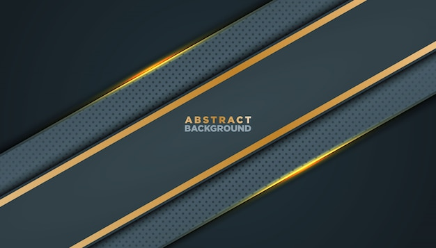 Dunkler abstrakter hintergrund mit schwarzen deckschichten. beschaffenheit mit goldener effektelementdekoration.