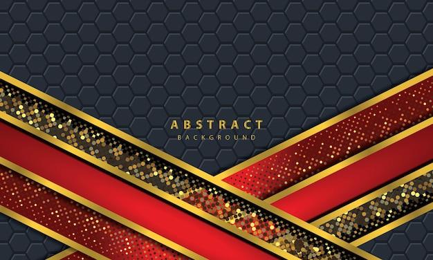 Dunkler abstrakter hintergrund mit schwarzen überlappungsschichten. textur mit goldener linieneffektelementdekoration. roter hintergrundvektor.