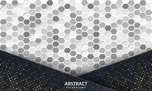 Dunkler abstrakter hintergrund mit schwarzen überlappungsschichten. textur mit sechseck strukturiertem hintergrund.