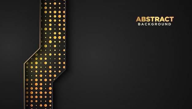 Dunkler abstrakter hintergrund mit überlappungsebenen. luxus-design-konzept. golden glitzert punkte elementdekoration. luxus-design-konzept.