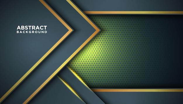 Dunkler abstrakter hintergrund mit überlappungsschichten. beschaffenheit mit goldener effektelementdekoration. luxus-design-konzept.